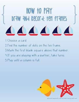 Instant Math Workshop Center Game:  Draw (a card) & Record (Ten Frames)