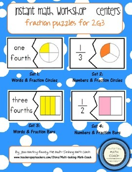 Instant Math Workshop Center Game:  Fraction Match (Halves