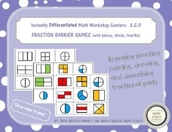 Instant Math Workshop Game:  Fraction Barrier Games (halves, thirds, fourths)