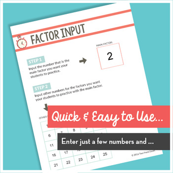 Instant Quizzes (Multiplication Fact Sheets)