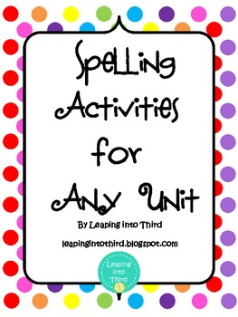 Instant Spelling Activities for Any Unit