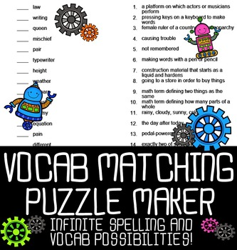 Automatic Vocabulary Matching Puzzle Maker