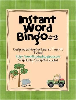 Instant Word Bingo #2