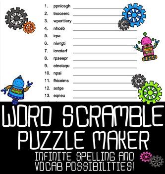 Automatic Word Scramble Puzzle Maker