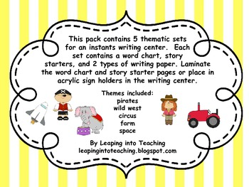 Instant Writing Centers - Fun Thematic Writing