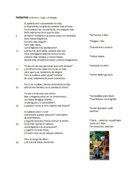 Instantes Spanish Poem Guide and Questions for Conditional
