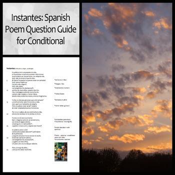 Instantes (Jorge Luis Borges) Poem Question Guide for Spanish Conditional Tense
