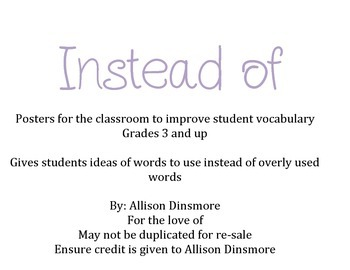 Instead Of - Strengthening Vocabulary