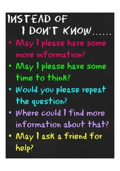 Instead of I Don't Know Poster