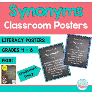 Synonyms Posters (ELA) - Chalkboard Poster Set