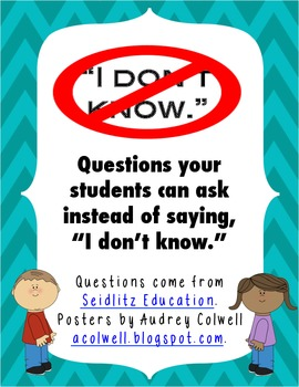 """Instead of saying """"I don't know"""" Posters"""