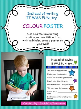 "Sentence Starter Poster! Instead of ""It was fun"" try..."