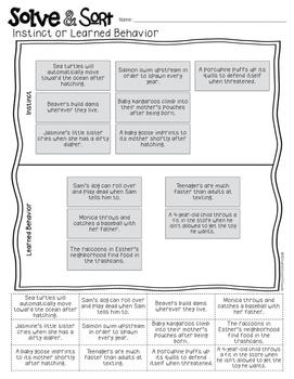 Instinct or Learned Behavior Solve & Sort