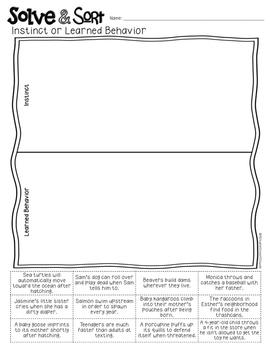 Instinct or Learned Behavior Solve & Sort Worksheet