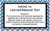 Instinct vs. Learned Behavior Sort