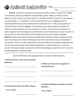 instinct vs learned behavior worksheet by peterson products tpt. Black Bedroom Furniture Sets. Home Design Ideas