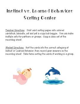 Instinct vs. Learned Behaviors Science Sorting Center and Recording Sheet