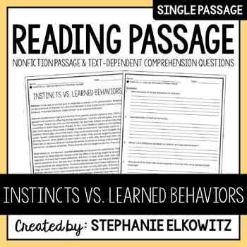 Instincts vs. Learned Behaviors Reading Passage