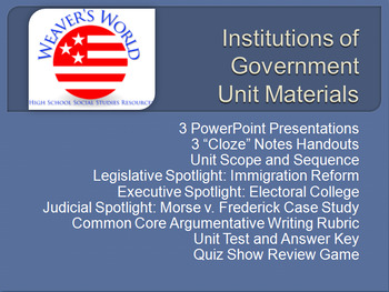 Branches of Government Complete Unit - PPTs, Lessons, Exam, Review Game & more