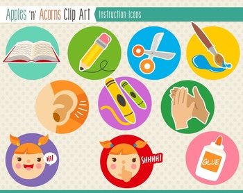 Instruction Icons Clip Art - color and outlines