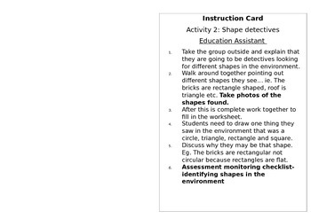 Instruction cards for rotations