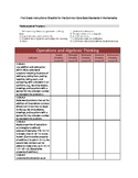 Instructional Checklist for First Grade Math Common Core Standards