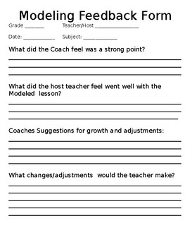 Instructional Coach Modeling Lesson Binder Pages