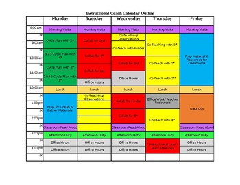 Instructional Coach Weekly Calendar Outline