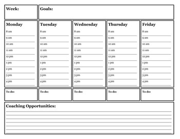 Instructional Coach Weekly Planner