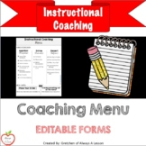 Instructional Coaching: Menu of Support [Editable]