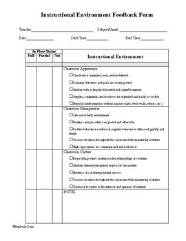 Instructional Coaching Feedback Packet