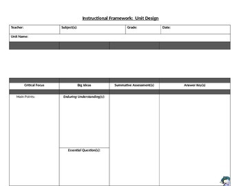 Instructional Framework for Lesson Planning One Page Form