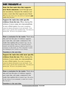 Instructional Guide for Writing a Literary Analysis Essay