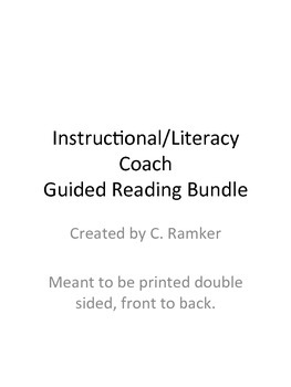 Instructional / Literacy Coach Guided Reading Bundle