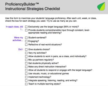 Instructional Strategies Checklist