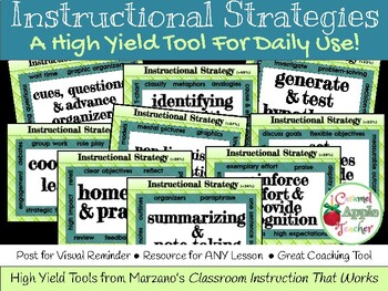 "Instructional Strategies Poster Set {Marzano's 9 ""High Yie"