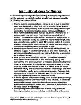 Instructional Strategies to Improve Reading Fluency