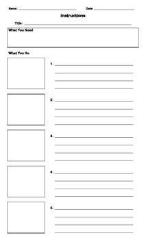 Instructional Writing - 3 and 5-step blank organizers
