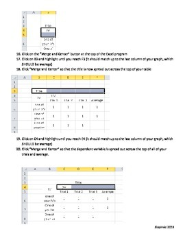 Instructions Creating a Data Table in Microsoft Excel for Science Data