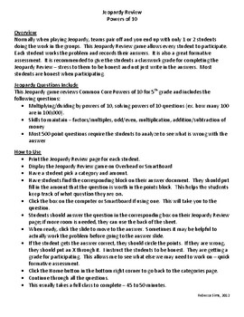 Instructions/Template for Jeopardy Review Powers of 10