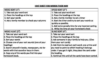 Instructions Words Their Way Hint sheet for sorting