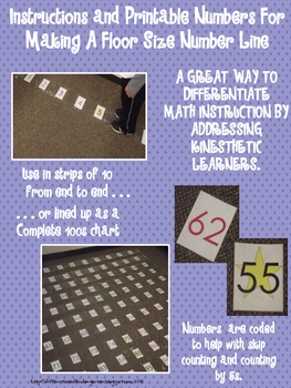 Instructions and Printable Numbers for Making Floor Sized Number Line