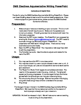 Instructions for Argumentative Writing PPT.