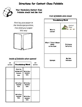 Instructions for Context Clues Foldable