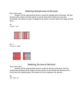 Instructions for Operating with Models (mult & div)