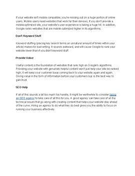 Instructions for Website Google SEO