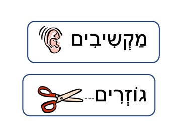 Instructions for class in Hebrew