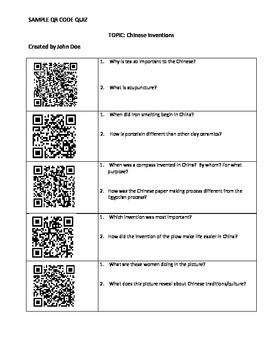 Instructions on Student Generated QR Quizzes - on any topic!