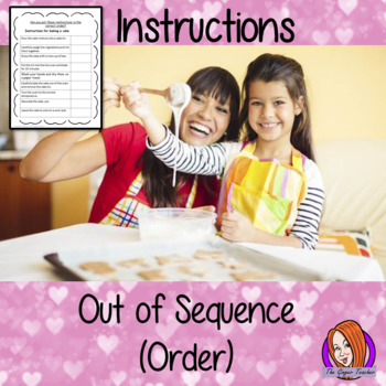 Instructions out of sequence (order) how to bake a cake