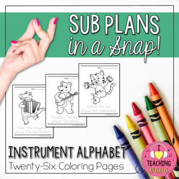 Instrument Alphabet Coloring Pages - Sub Plans in a Snap!
